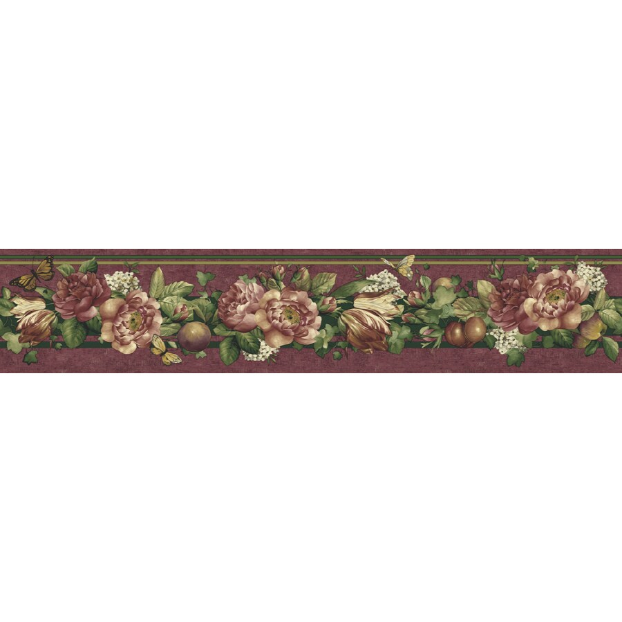 Shop sunworthy 4 1 8 floral and fruit trail prepasted for Prepasted wallpaper