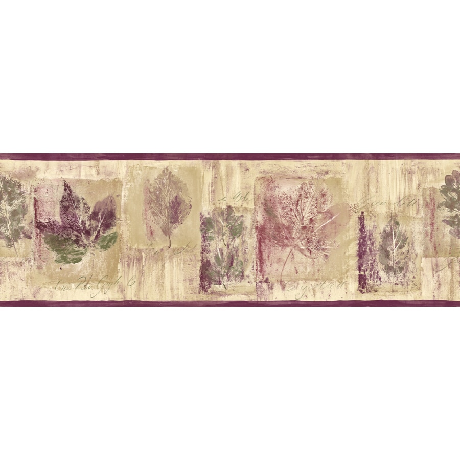 Shop sanitas 6 7 8 leaf script prepasted wallpaper border for Wallpaper lowe s home improvement
