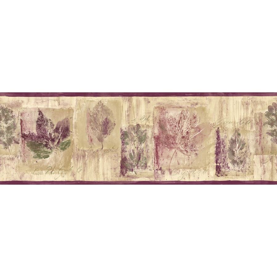Shop sanitas 6 7 8 leaf script prepasted wallpaper border for Wallpaper lowe s home improvement