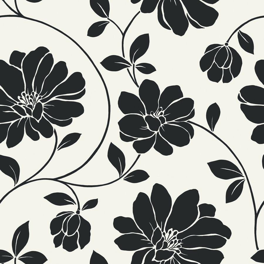 allen + roth Black Strippable Non-Woven Prepasted Classic Wallpaper
