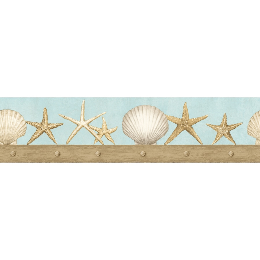 "Seashell Wallpaper Border Shop imperial 4-3/4"" seashell prepasted ..."