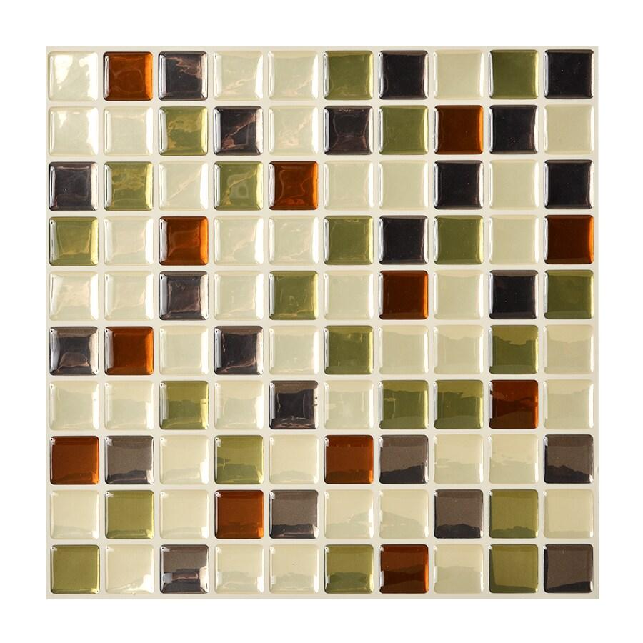Shop smart tiles 6 pack beige uniform squares mosaic for Vinyl square floor tiles