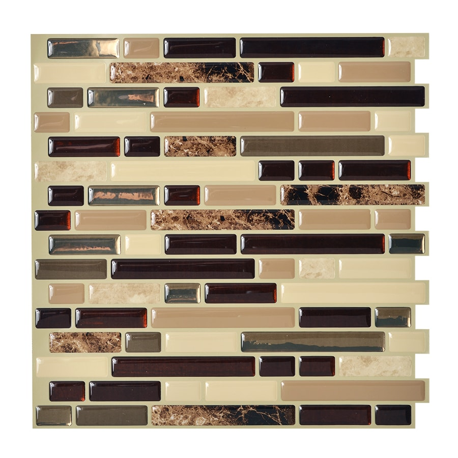 Shop smart tiles 6 pack brown linear mosaic composite for Vinyl peel and stick wallpaper