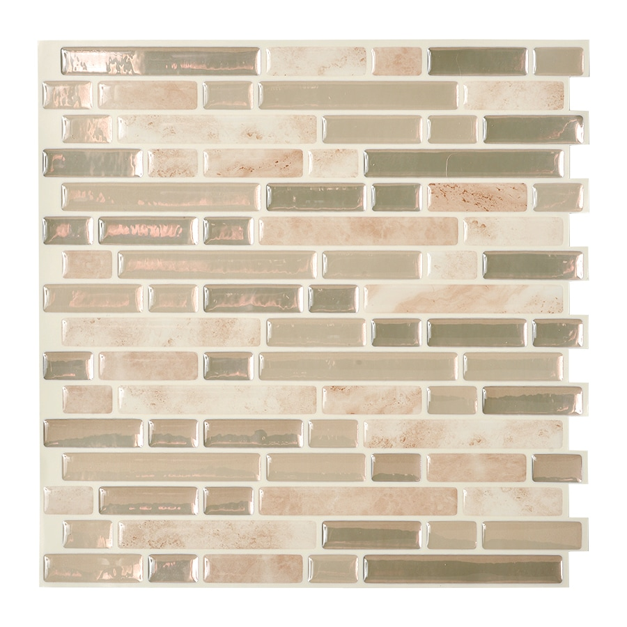 Shop smart tiles 6 pack beige linear mosaic composite for Peel and stick wallpaper squares