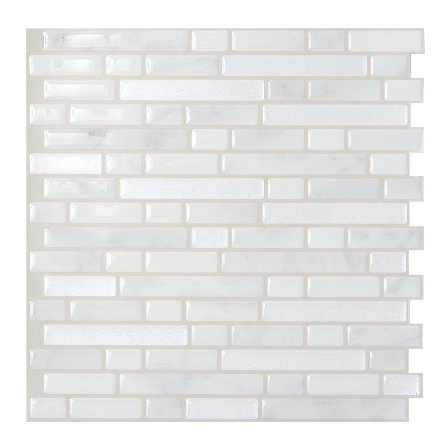 Smart Tiles 6-Pack White Subway Mosaic Composite Vinyl Peel-and-Stick Wall Tile (Common: 10-in x 10-in; Actual: 10-in x 10.06-in)