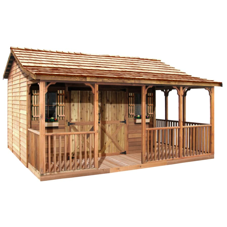 Red western bathroom decor - Shop Cedarshed Farmhouse Gable Cedar Storage Shed Common 20 Ft X 12