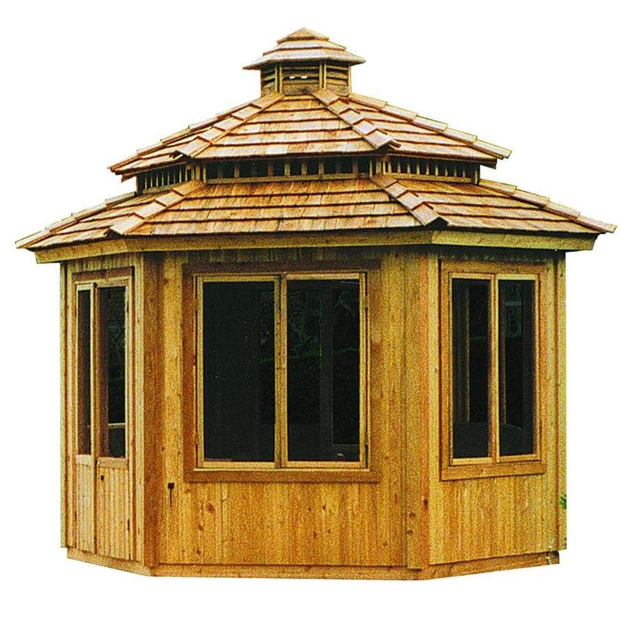 Cedarshed Cedar Hexagon Screened Permanent Gazebo (Exterior: 12.83-ft x 12.83-ft; Foundation: 9.69-ft x 11.19-ft)