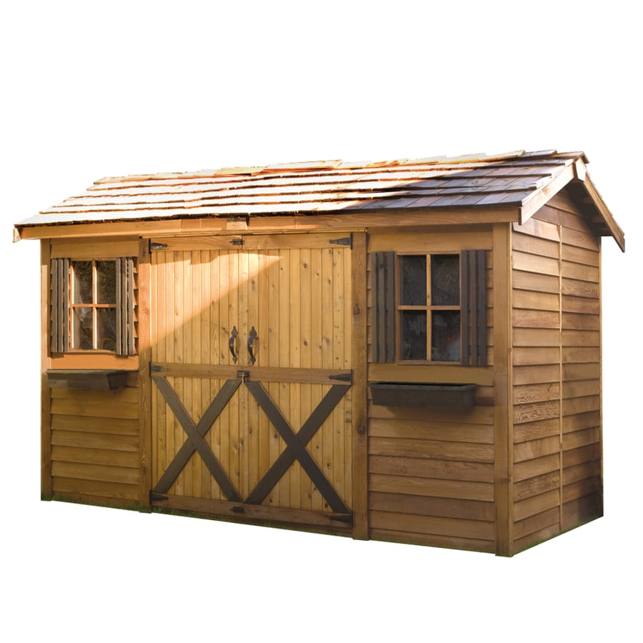 Shop cedarshed longhouse gable cedar storage shed common for Lowes storage sheds