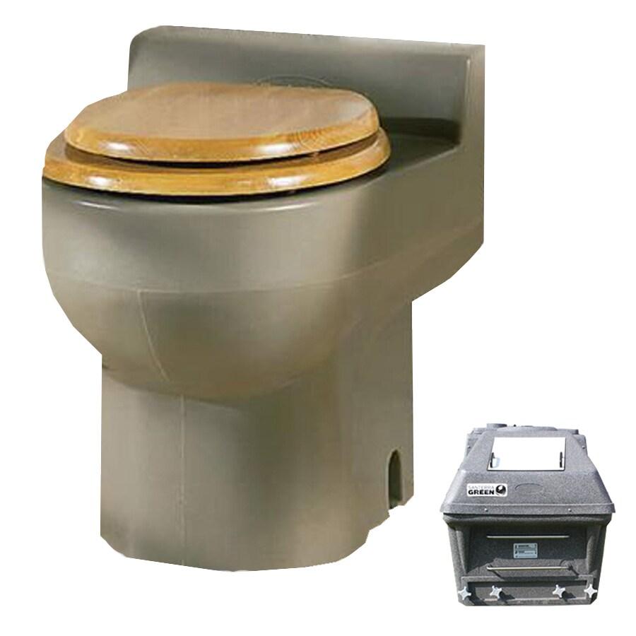 Santerra Green Sandalwood 0.8-GPF (3.03-LPF) 4 Rough-In Round Composting Standard Height Toilet