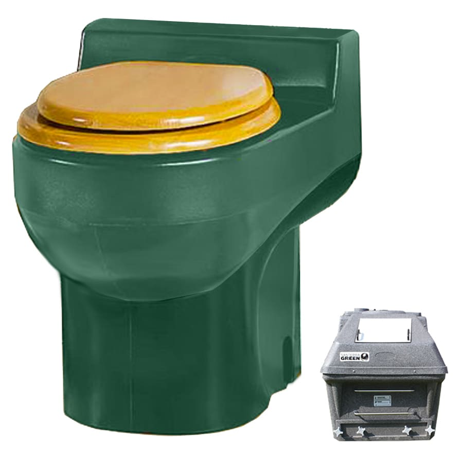 Santerra Green Dark Green 0.8-GPF (3.03-LPF) 4 Rough-In Round Composting Standard Height Toilet