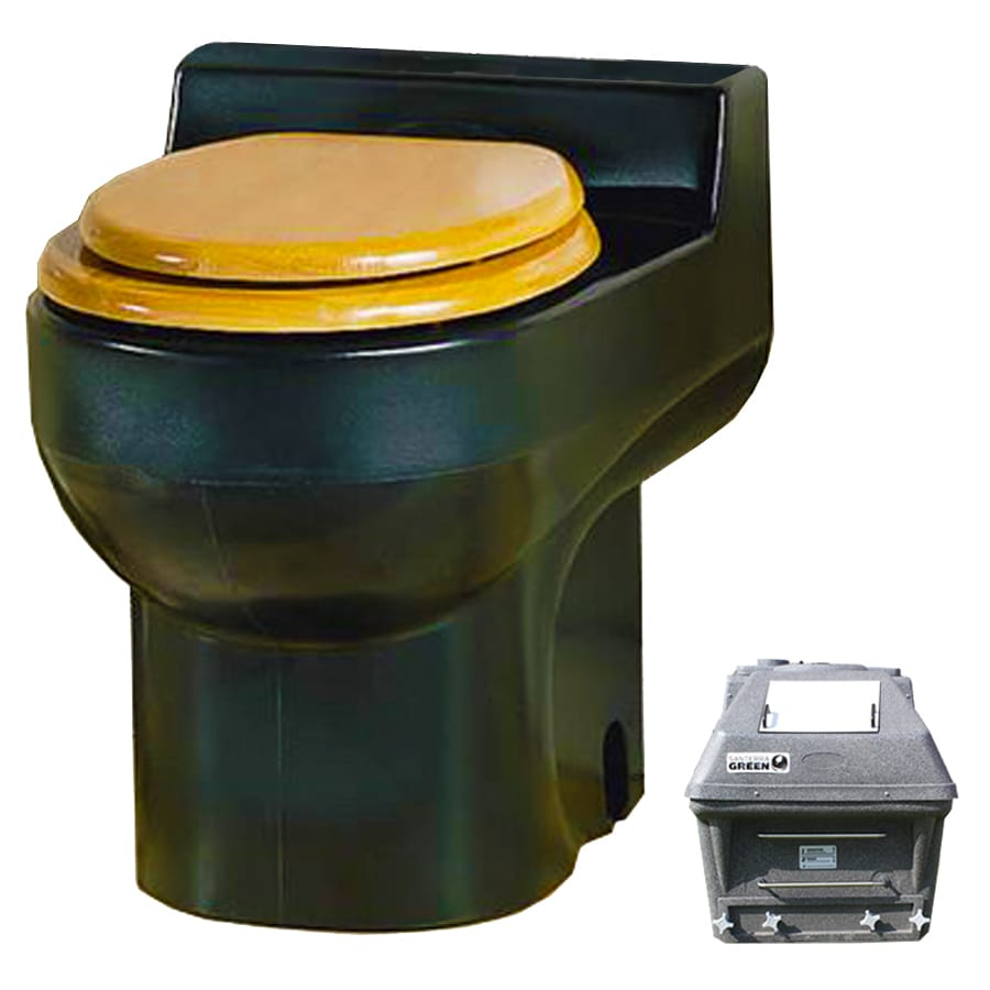 Santerra Green Black 0.8-GPF (3.03-LPF) 4 Rough-In Round Composting Standard Height Rear Outlet Toilet