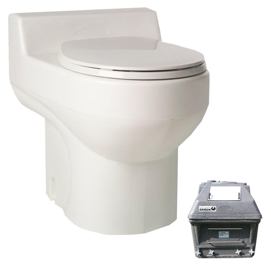 Santerra Green White 0.8-GPF (3.03-LPF) 4 Rough-In Round Composting Standard Height Toilet