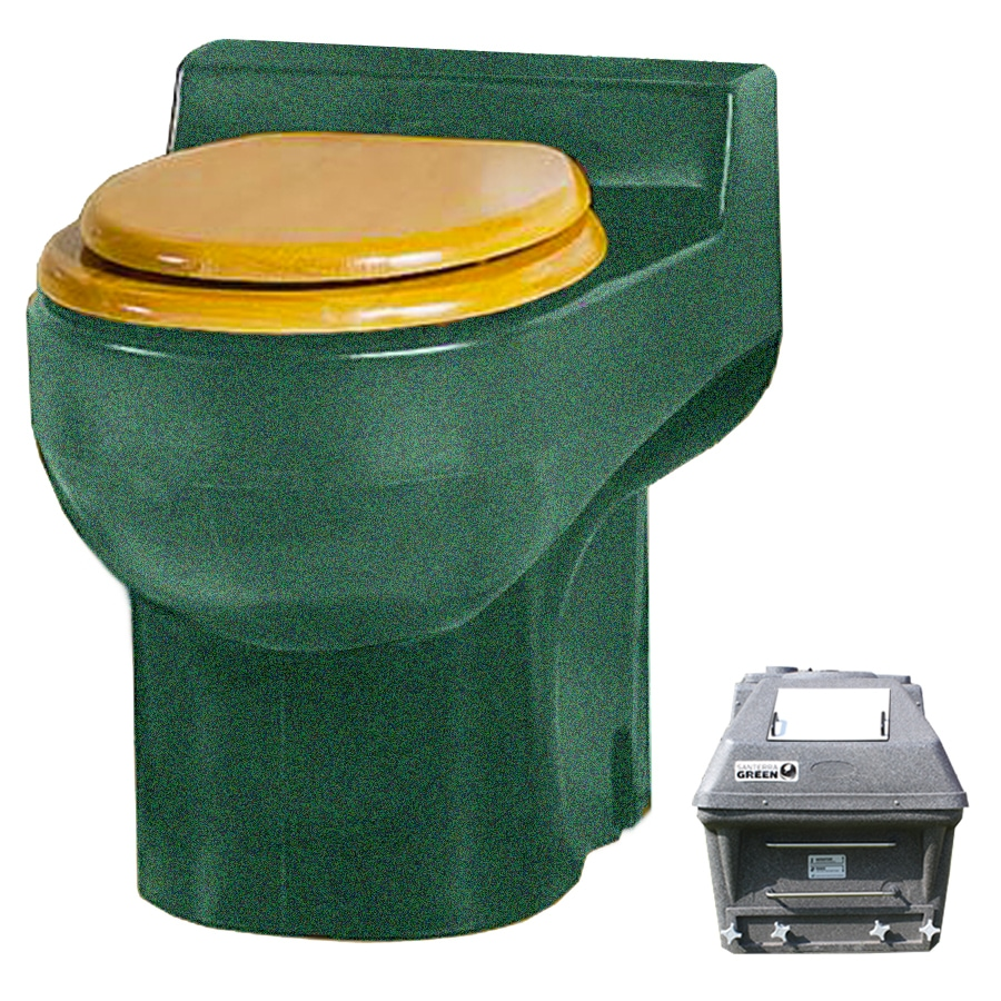 Santerra Green Green Granite 0.8-GPF (3.03-LPF) 4 Rough-In Round Composting Standard Height Rear Outlet Toilet