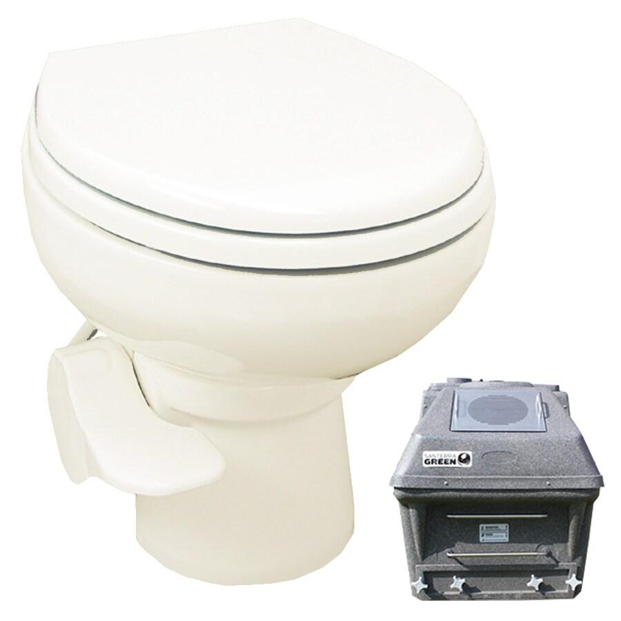 Santerra Green Bone 0.8-GPF (3.03-LPF) 4 Rough-In Round Pressure Assist Composting Standard Height Rear Outlet Toilet