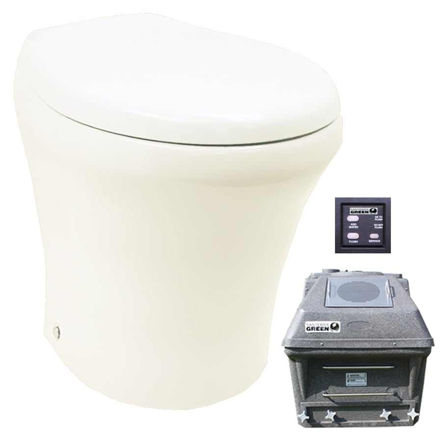 Santerra Green Bone 0.8-GPF (3.03-LPF) 4-in Rough-in Round Pressure Assist Composting Standard Height Rear Outlet Toilet
