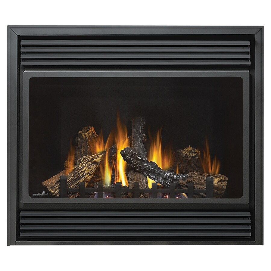 Continental 37.5-in Direct Vent Black Corner Liquid Propane Gas Fireplace