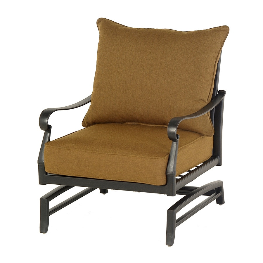 allen + roth Whitley Place Burnished Black Aluminum Cushioned Patio Rocking Chair
