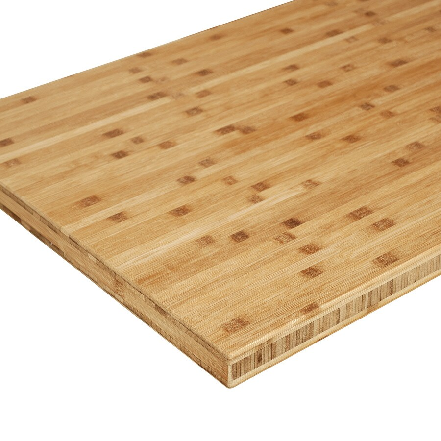 Sparrow Peak Bamboo 8 Ft Natural Straight Butcher Block Bamboo Kitchen Countertop In The Kitchen Countertops Department At Lowes Com