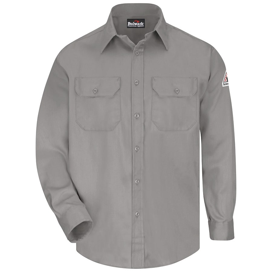 Bulwark Men's Large Grey Twill Cotton Blend Long Sleeve Uniform Work Shirt