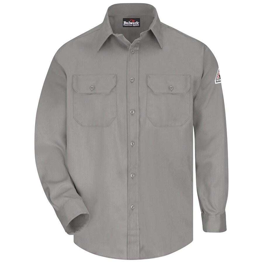 Bulwark Men's X-Large Grey Twill Cotton Blend Long Sleeve Uniform Work Shirt