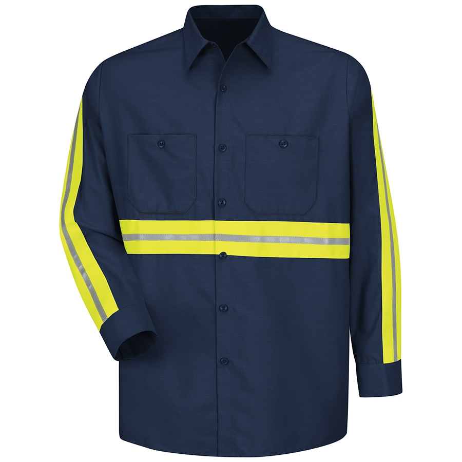 Red Kap Men's Medium Navy with Yellow/Green Reflective Trim Poplin Polyester Blend Long Sleeve Uniform Work Shirt