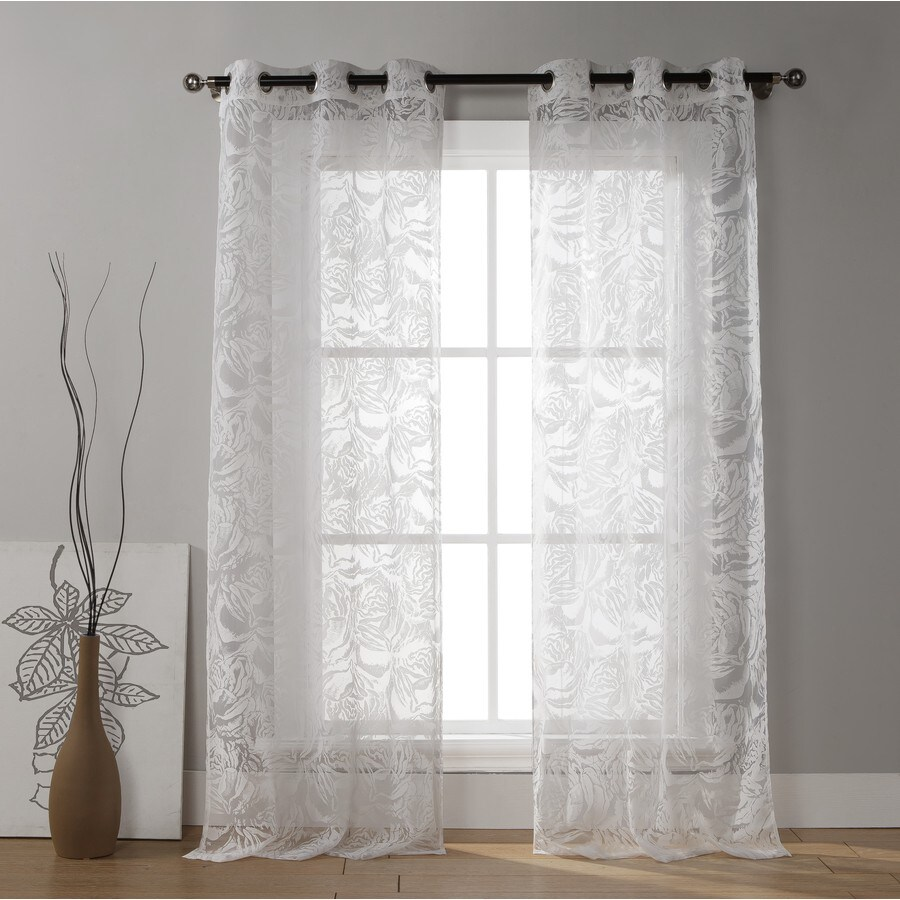 Duck River Textile 84-in White Cotton Grommet Light Filtering Curtain Panel Pair