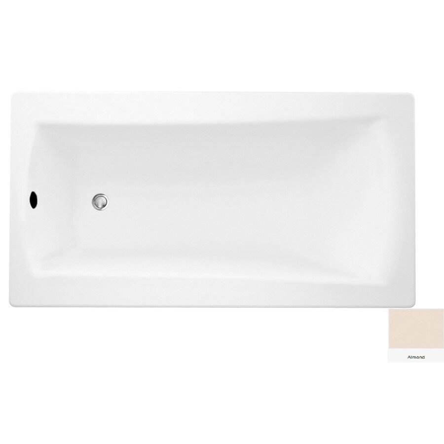 Laurel Mountain Boston 2 Almond Acrylic Rectangular Drop-in Bathtub with Reversible Drain (Common: 32-in x 72-in; Actual: 22-in x 32-in x 72-in