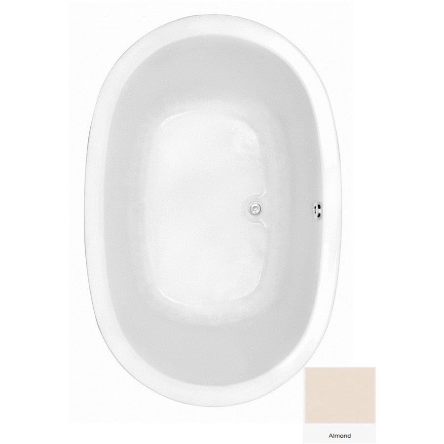 Laurel Mountain Crewe 2 Almond Acrylic Oval Drop-in Bathtub with Center Drain (Common: 44-in x 75-in; Actual: 23.5-in x 44.5-in x 74-in