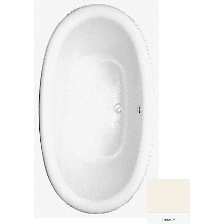 Laurel Mountain Oakton Biscuit Acrylic Oval Drop-in Bathtub with Center Drain (Common: 40-in x 72-in; Actual: 23.75-in x 39.625-in x 71.75-in