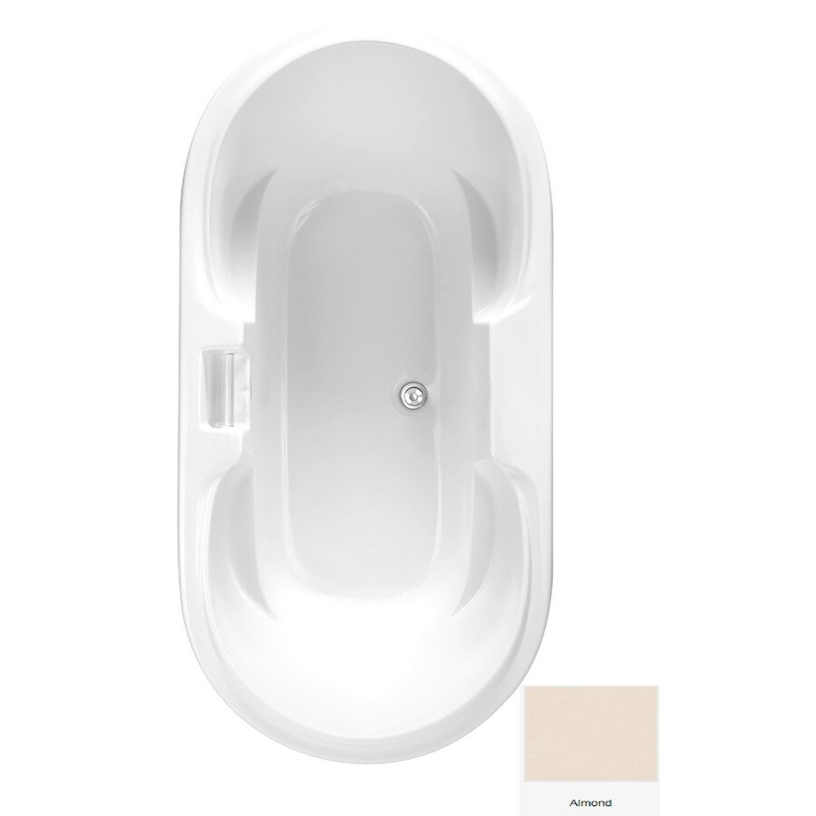 Laurel Mountain Doran Almond Acrylic Oval Drop-in Bathtub with Center Drain (Common: 36-in x 70-in; Actual: 25.75-in x 35.75-in x 70.25-in