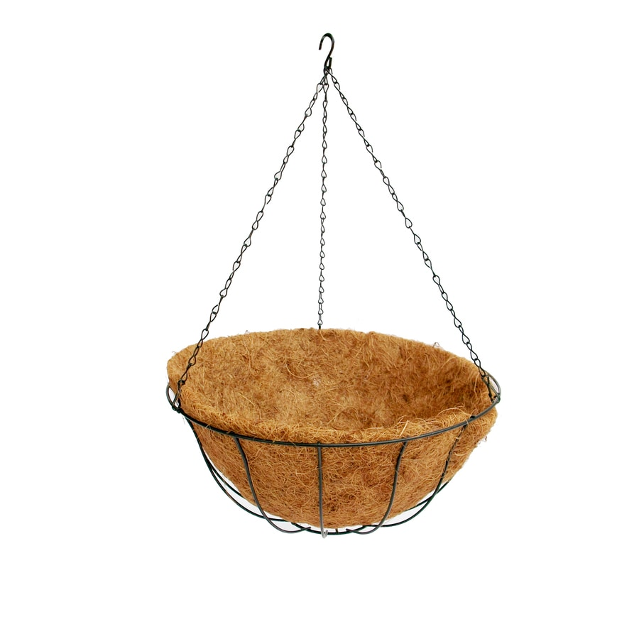 Patio Life 14-in x 6.25-in Black Metal Hanging Classic Basket