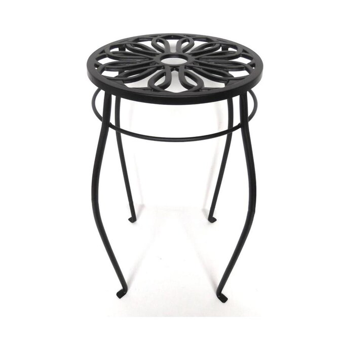 Patio Life 21-in Black Outdoor Round Steel Plant Stand in