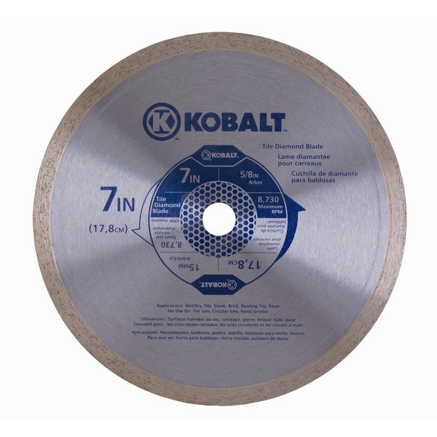 Kobalt 7-in 1-Tooth Wet or Dry Continuous Diamond-Tipped Steel Circular Saw Blade