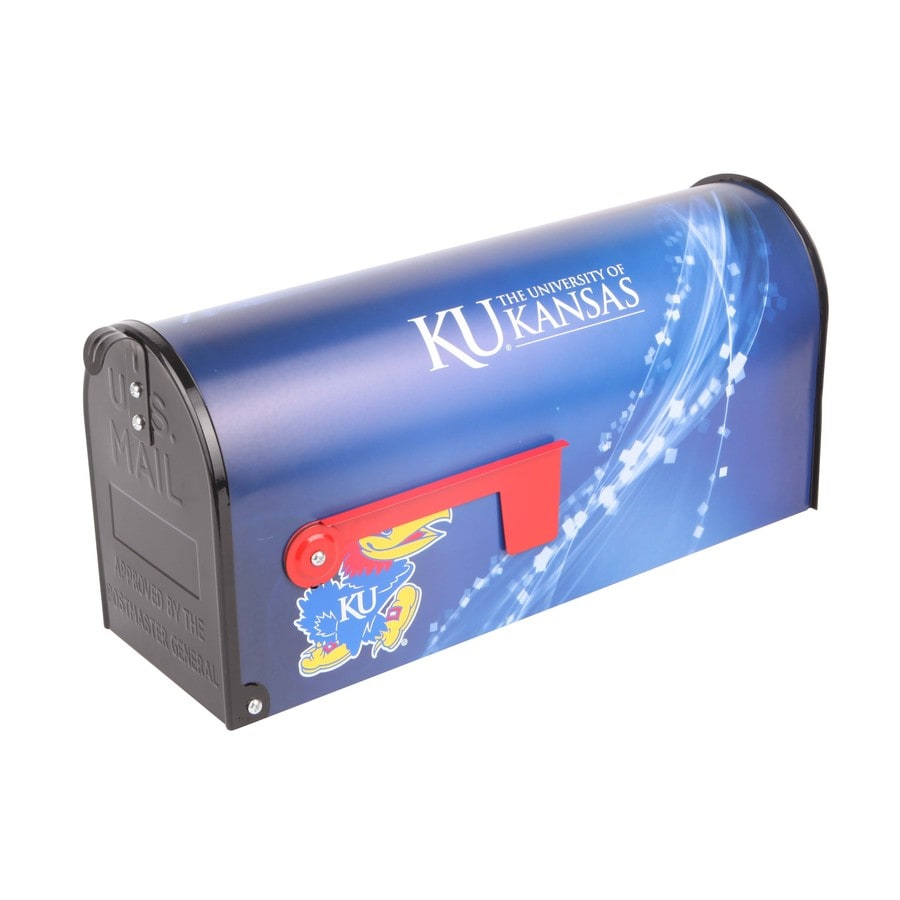 S.A.W. NCAA 7-in x 9-in Metal University Of Kansas Post Mount Mailbox
