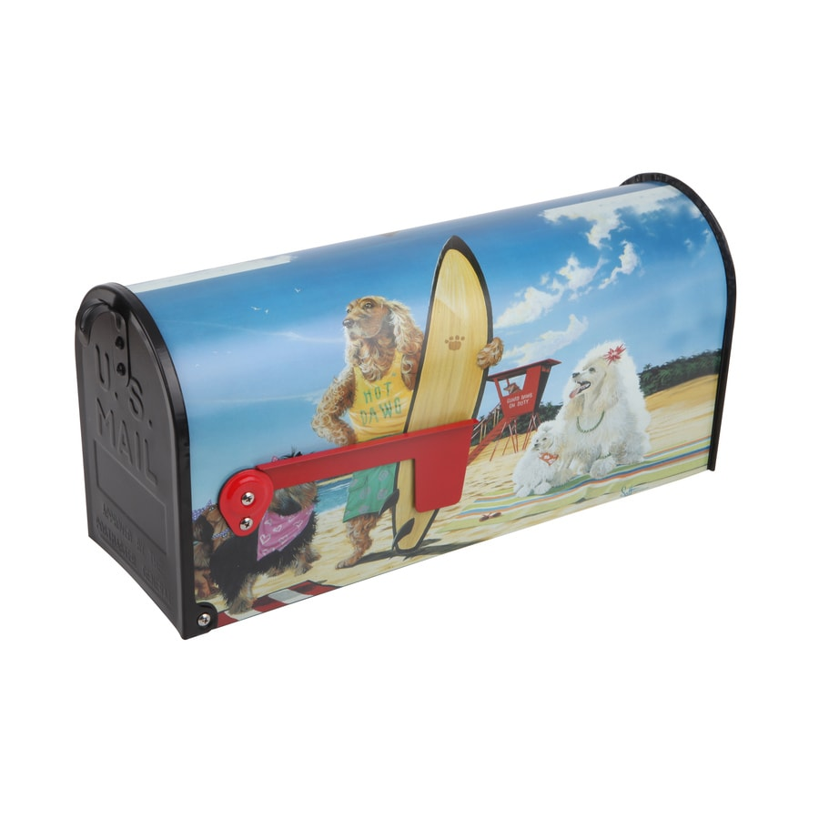 S.A.W. 7-in x 9-in Metal Hot Dawg Post Mount Mailbox