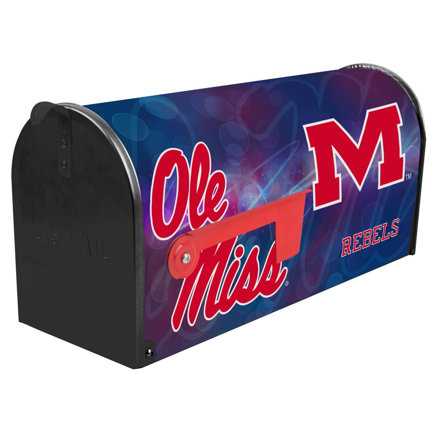 S.A.W. NCAA 7-in x 9-in Metal University Of Mississippi Post Mount Mailbox