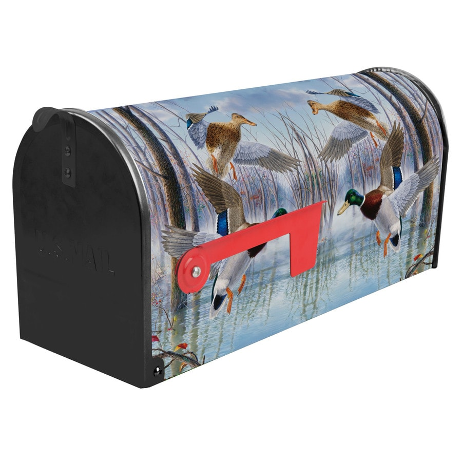 S.A.W. 7-in x 9-in Metal Timber Mallards Post Mount Mailbox