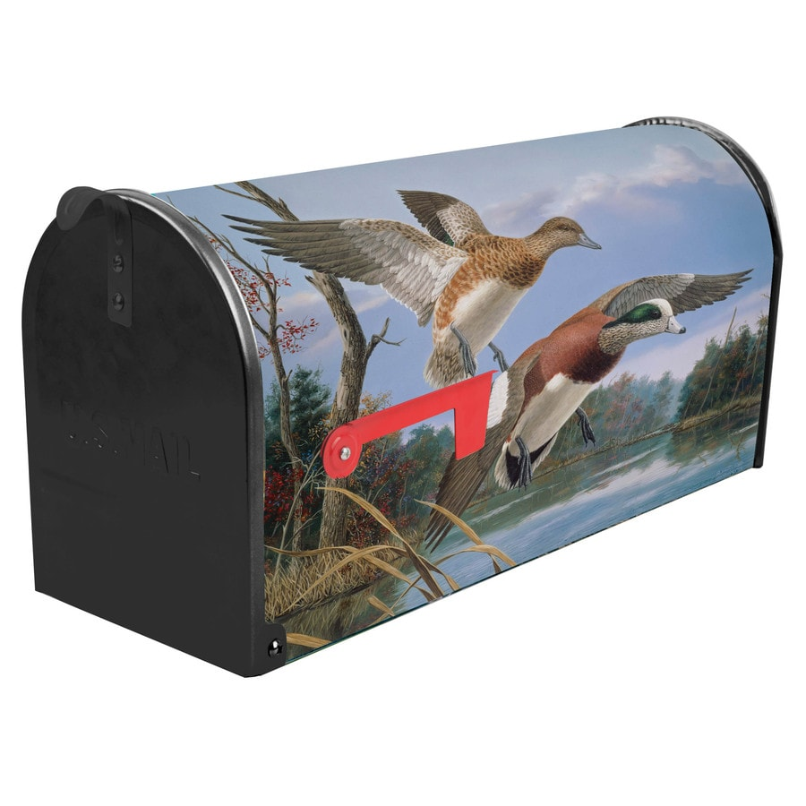 S.A.W. 7-in x 9-in Metal Wind and Widgeons Post Mount Mailbox