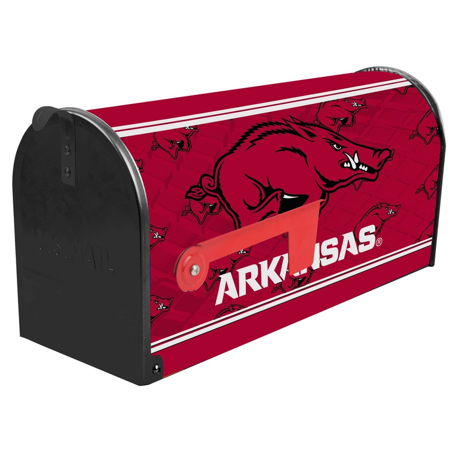 S.A.W. NCAA 7-in x 9-in Metal University Of Arkansas Post Mount Mailbox