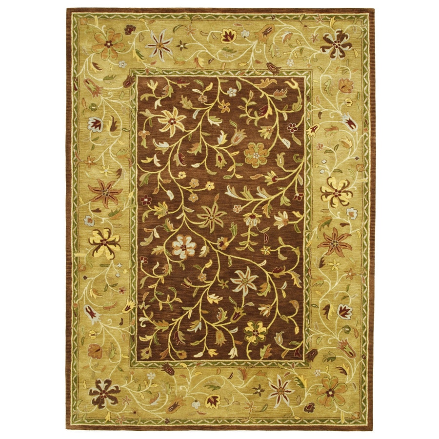 Bashian Ipswich Rectangular Brown Floral Tufted Wool Area Rug (Common: 8-ft x 10-ft; Actual: 7.75-ft x 9.75-ft)