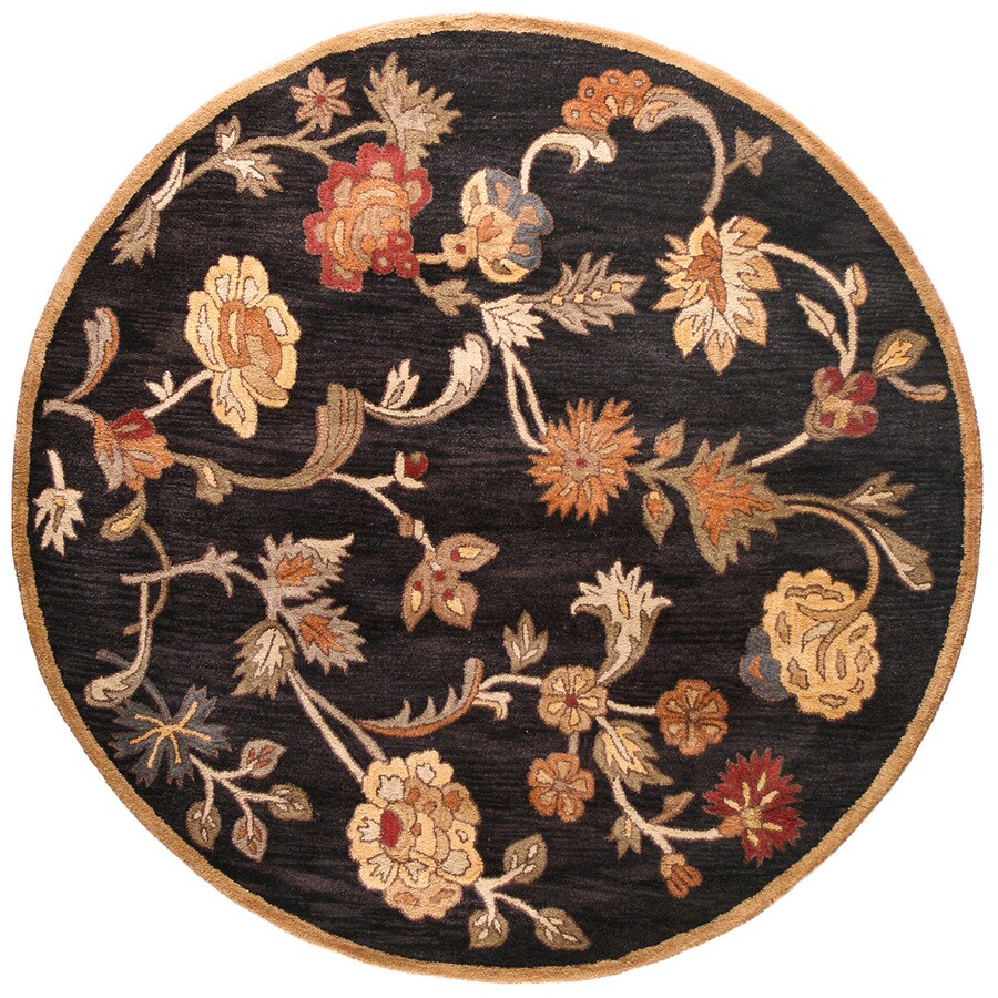 Bashian Ipswich Round Black Floral Tufted Wool Area Rug (Common: 6-ft x 6-ft; Actual: 6-ft x 6-ft)