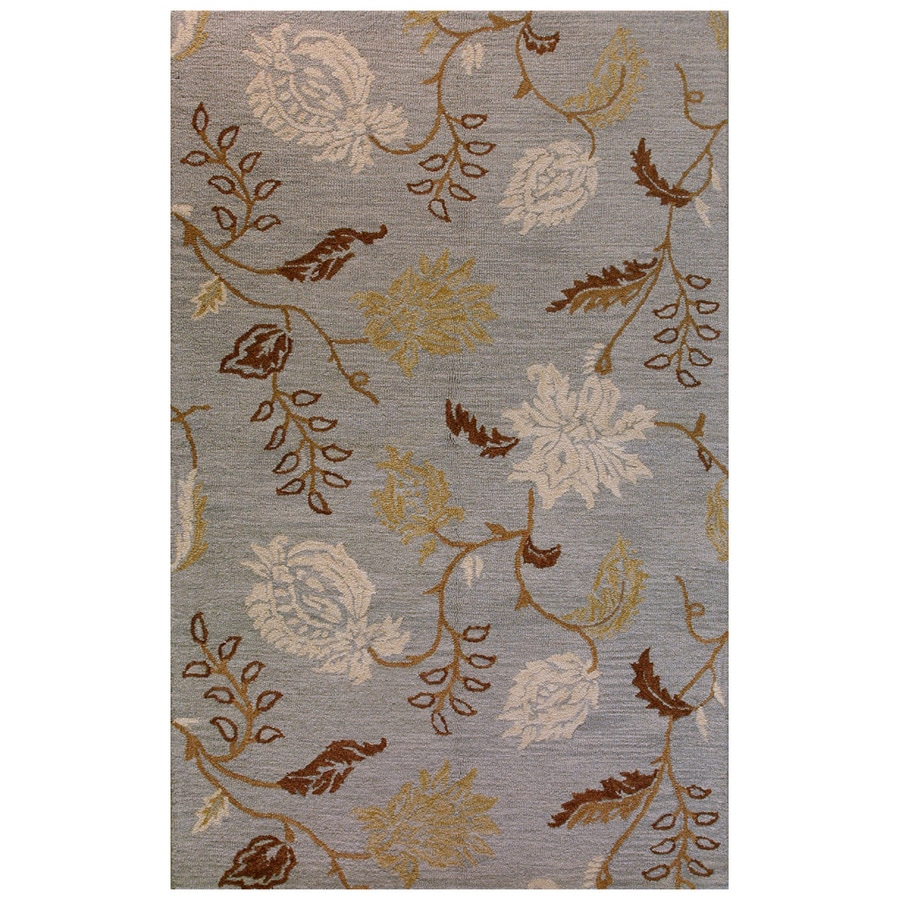 Bashian Stockport Rectangular Blue Floral Tufted Wool Area Rug (Common: 9-ft x 12-ft; Actual: 8.5-ft x 11.5-ft)