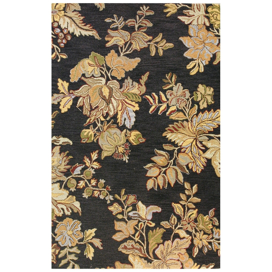 Bashian Stockport Rectangular Black Floral Tufted Wool Area Rug (Common: 5-ft x 8-ft; Actual: 5-ft x 8-ft)