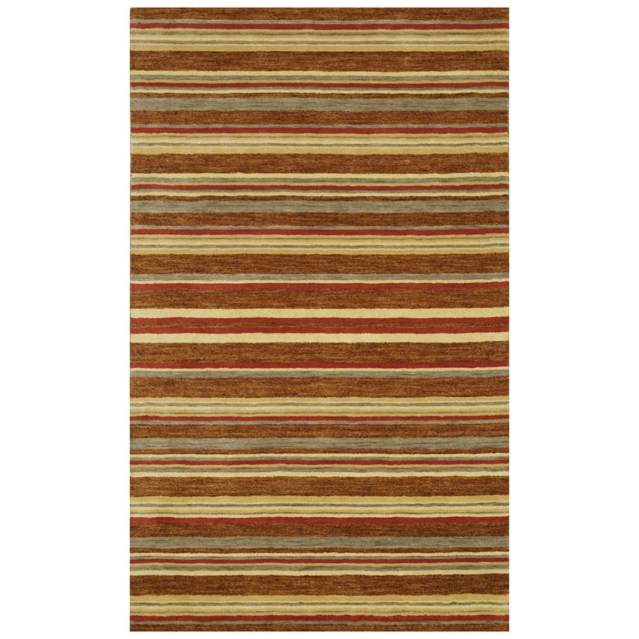 Bashian Fulham Rectangular Brown Geometric Hand-Loomed Wool Area Rug (Common: 4-ft x 6-ft; Actual: 3.5-ft x 5.5-ft)