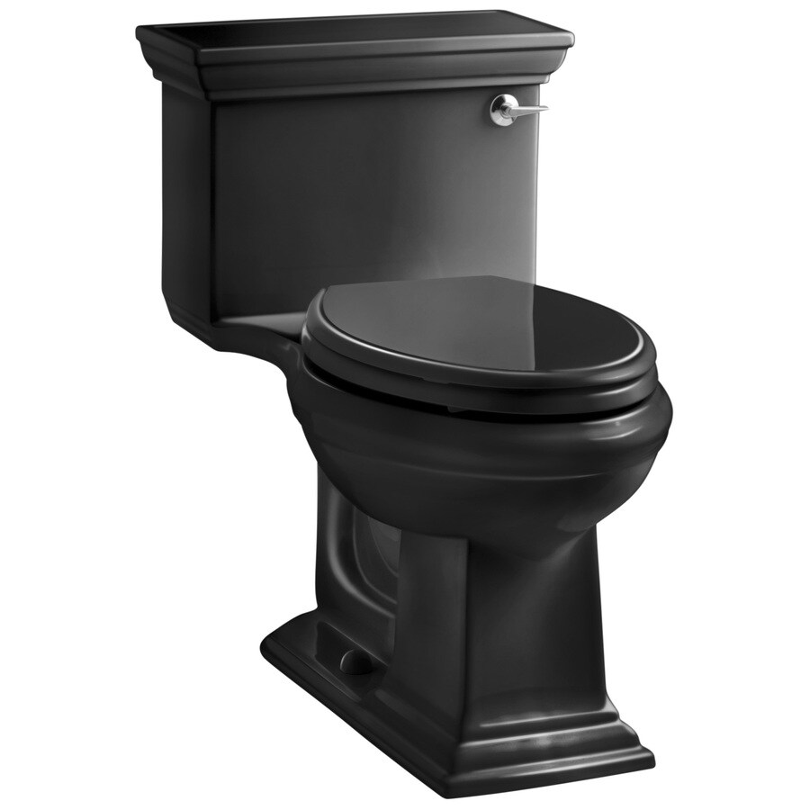 KOHLER Memoirs Black Black 1.28-GPF (4.85-LPF) 12-in Rough-In WaterSense Elongated 1-Piece Comfort Height Toilet
