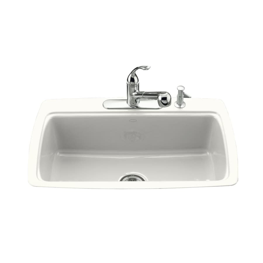 KOHLER Cape Dory 22-in x 33-in White Single-Basin Cast Iron Tile-in 3-Hole Residential Kitchen Sink