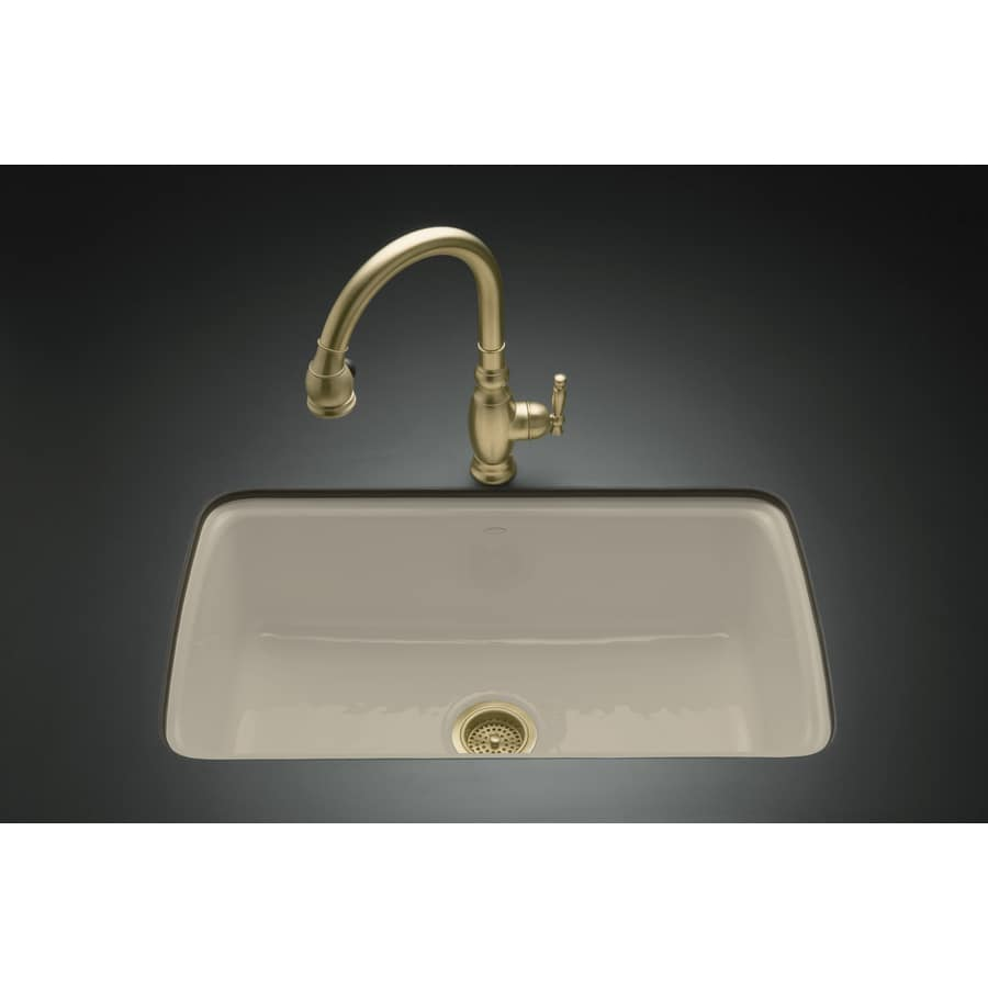 KOHLER Cape Dory 22-in x 33-in Sandbar Single-Basin Cast Iron Undermount 5-Hole Residential Kitchen Sink