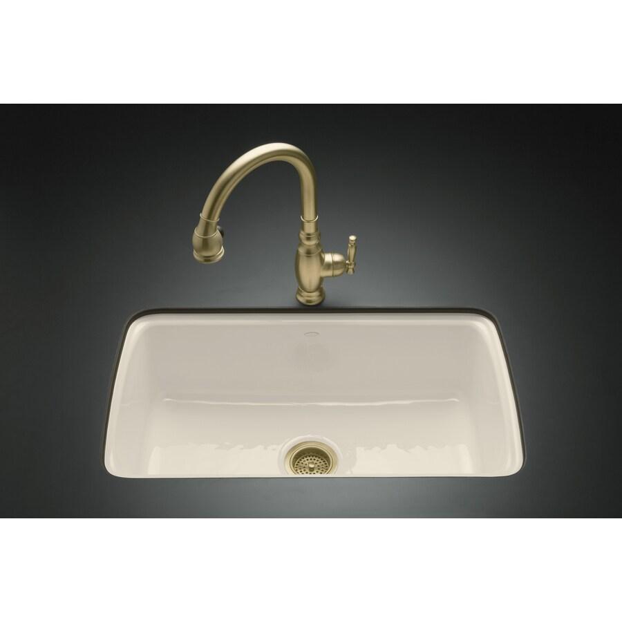 KOHLER Cape Dory 22-in x 33-in Almond Single-Basin Cast Iron Undermount 5-Hole Residential Kitchen Sink