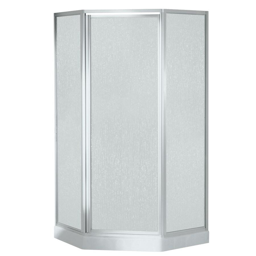 Shop Sterling White Fiberglass Neo Angle 5 Piece Corner Shower Kit Actual 7