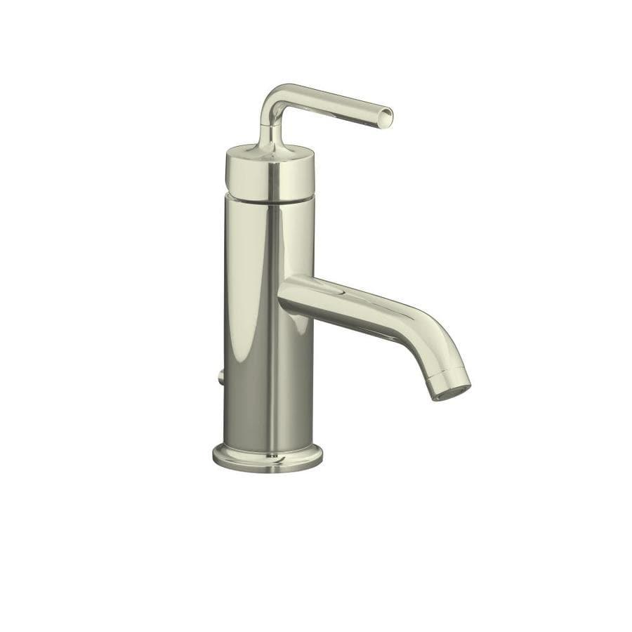 KOHLER Purist Vibrant Polished Nickel 1-Handle Single Hole WaterSense Bathroom Faucet (Drain Included)